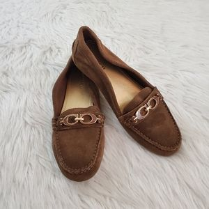**Coach Fortunata Sz 7 Brown Suede Loafers